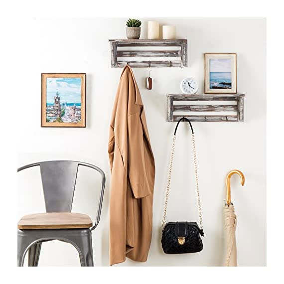 MyGift Farmhouse Style Torched Wood Wall- Mounted Shelf Display Rack with 3 Key Hooks, Set of 2, Brown - A decorative country farm style torched wood floating shelves with 3 key hooks. Features a set of 2 shelves with a rectangular slatted wooden design and weathered rustic torched wood finish. Ideal for displaying a variety of collectibles, plants, books and more. The 3 hooks are perfect for hanging keys, lanyard, light coats and hats. - wall-shelves, living-room-furniture, living-room - 51uirdWtczL. SS570  -
