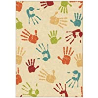 Orian Handprints Fun Kids Area Rug 311x 55 - Ideal for Bedroom or Playroom