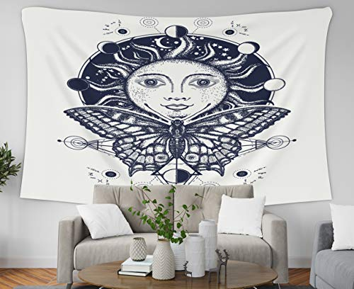 Asdecmoly Tapestry Wall Hanging Printing Tapestries for Living Room and Bedroom 60 Lx50 W Inches Magic Medieval Sun Butterfly Tattoo Symbol The Moon Phases Coloring Book Art Printing Inhouse