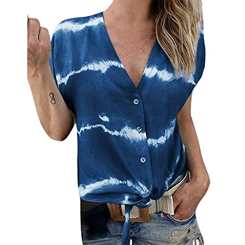 Dyed Batik - Sunhusing Women's Large Size V-Neck Gradient Color Tie-Dyed Printed Short-Sleeve T-Shirt Button Cardigan Top Navy
