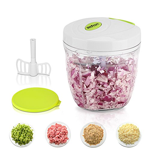 Pull Some Bow (Manual Food Chopper 5 Blades 1000 ml,Sedhoom Powerful Easy Pull Upgraded Hand Held Vegetable Onion Chopper/Food Processor/Blender)