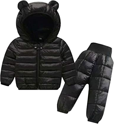 FREE FISHER Unisex Boys Girls Warm Snowsuit Hooded Ski Jacket Pants 2 Pcs Set