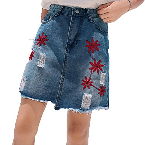 Embroidery Design Denim Skirt Street Women Ripped Short Skirts Feminino Burr Fringe Hem s Jupe Mini Etek Blue L ()