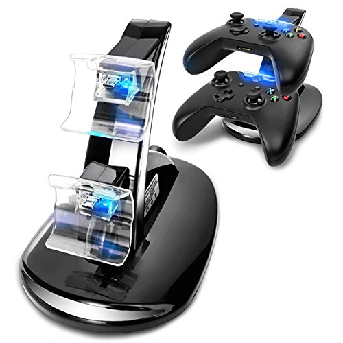 ng Station, LED light Fast Two Charging Charge Dock Stand with USB Charge Cable for Microsoft Xbox One,Xbox1, Xbox One S,Xbox1S, Xbox One X, Xbox One Elite Gaming Controllers ()
