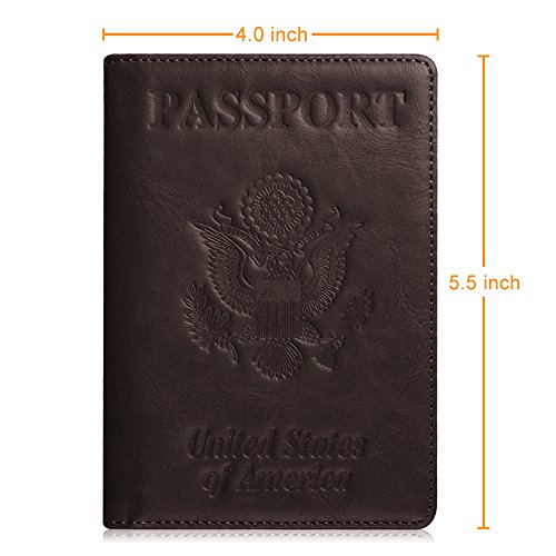 Fintie Passport Holder Travel Wallet - Premium Vegan Leather RFID Blocking Case Cover - Securely Holds Passport, Business Cards, Credit Cards, Boarding Passes, USA-Brown Photo #7