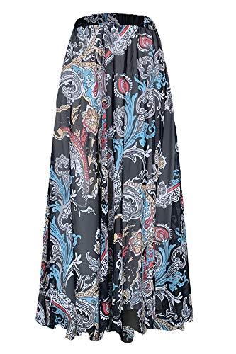 Pretchic Women's Blossom Floral Chiffon Maxi Long Skirt Black XX-Large