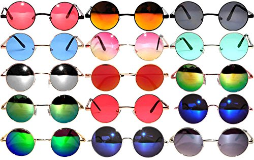 Retro Round Circle Colored Vintage Tint Sunglasses Metal Frame OWL (43mm_Mix_15p, PC Lens)