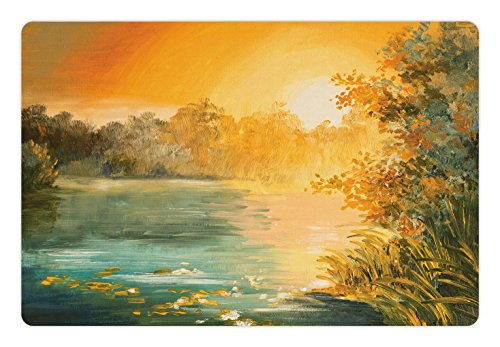 Country Pet Mats for Food and Water by Ambesonne, Pastel Color Sunset on the Lake in Fall Autumn Scenery in Retro Art Drawing, Rectangle Non-Slip Rubber Mat for Dogs and Cats, Green Orange Blue (Drawings Scenery Christmas)