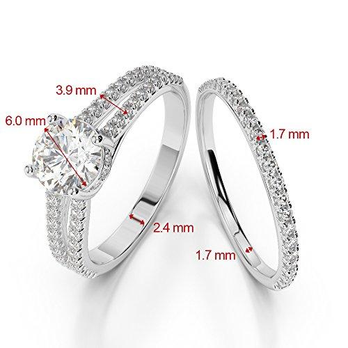 Or jaune 18carats 1CT G-H/VS sertie de diamants ronds découpé Émeraude et de mariage Bague de fiançailles et ensemble de Agdr-2035