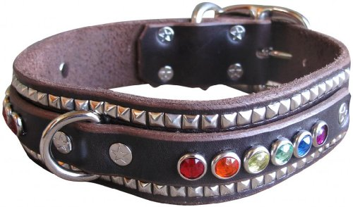 "Paco Collars - ""Rainbow Ruadh Deluxe"" - Exclusive Handmade Leather Large Dog Collar - 1.5""Wide - Brass - Black 18""-20"""