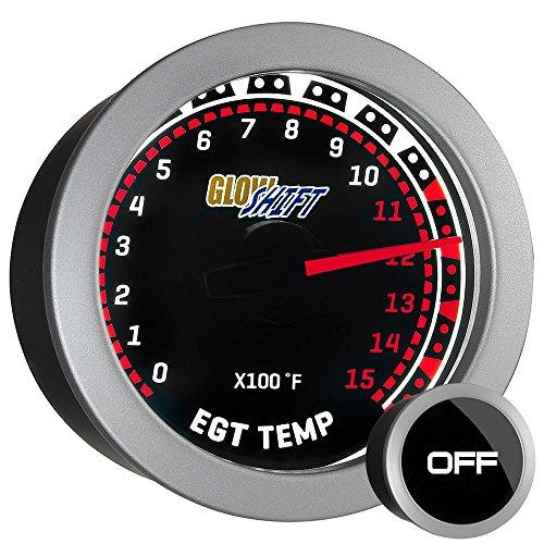 (GlowShift Tinted Series 1500 F Pyrometer Exhaust Gas Temperature EGT Gauge Kit - Includes Type K Probe - White LED Backlit - Smoked Lens - For Diesel Trucks - 2-1/16