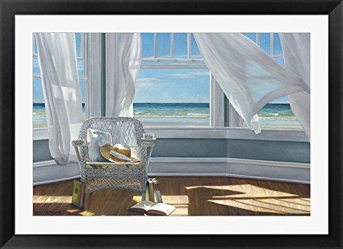 buyartforless IF IC H1024 40x28 2 Black SM Framed Gentle Reader by Karen Hollingsworth 40X28 Coastal Ocean with Wicker Chair & Books Art Print Poster Matted