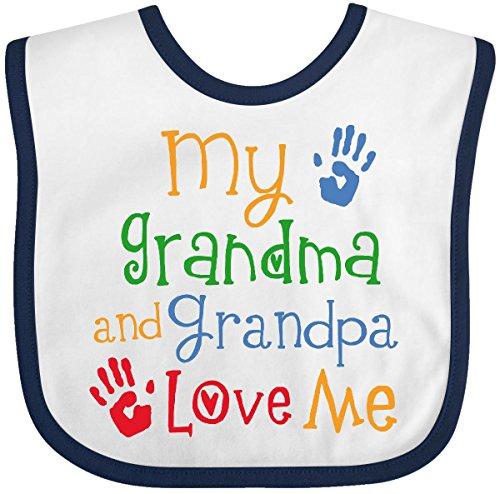 - Inktastic - My Grandma and Grandpa Love Me Baby Bib White/Navy 26a30