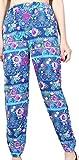 Xswsy XG Women Chiffon Lantern Floral Loose Ethnic Muslim Harem Pants Blue XL