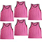 Bright Sun 6 pcs Scrimmage Vests Pinnies Soccer Youth Pink #BDMN
