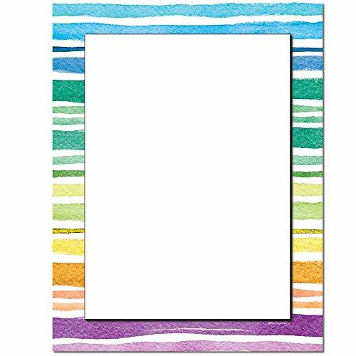 Watercolor Stripes Letterhead Laser & Inkjet Printer Paper, 100 pack - Border Letterhead 100 Sheets