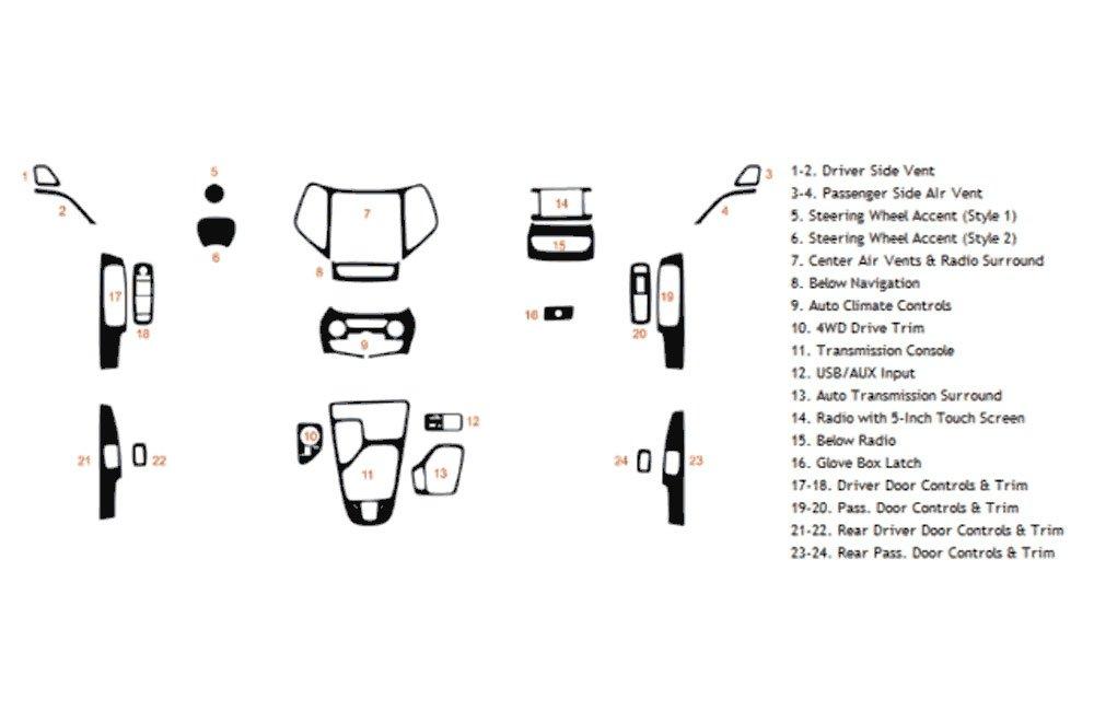 Rdash Dash Kit Decal Trim for Jeep Cherokee 2014-2017 - Chrome (Purple) Rvinyl