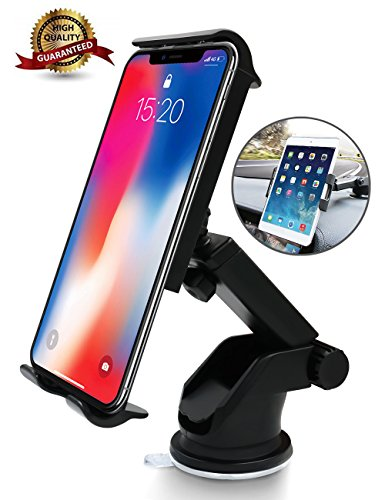 6Feeki Cell Phone Holder for Car, Car Phone Mount Windshield Long Arm Car Phone Mount with One Button Design and Anti-Skid Base Car Phone Holder for iPhone X/8/7/7P,Galaxy S9/S8,Huawei,Google,iPad