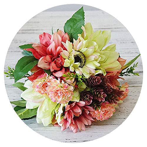 12Pcs/Bunch Silk Dahlia, Flowers, Daisy Artificial Hand Flowers Flores for Wedding Decoration Mariage Baby Shower Flower Wreath,D