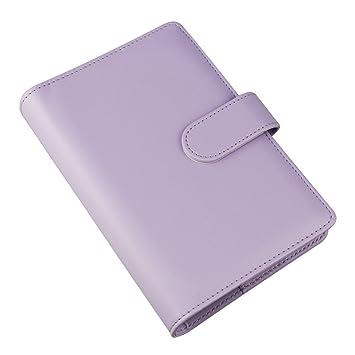 Cuaderno de piel sintética A6, rellenable, 6 anillas, redondo, para papel de relleno, funda para agenda de viaje, con bolsillo para tarjetas de ...