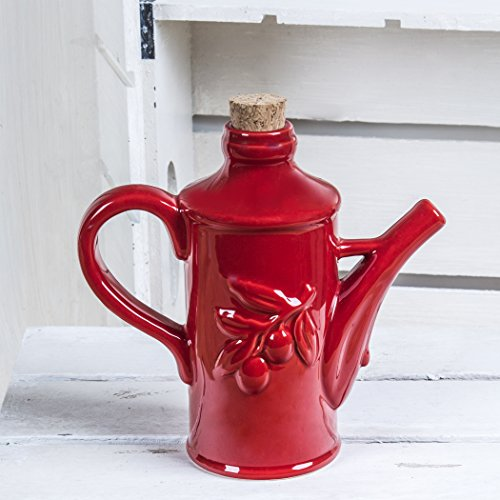 Red Ceramic Olive Oil Dispenser Bottle - Oil Dispensing Cruet -Pretty Embossed Bottle With Handle and Spout and Cork Stopper (Oil Olive Pretty)