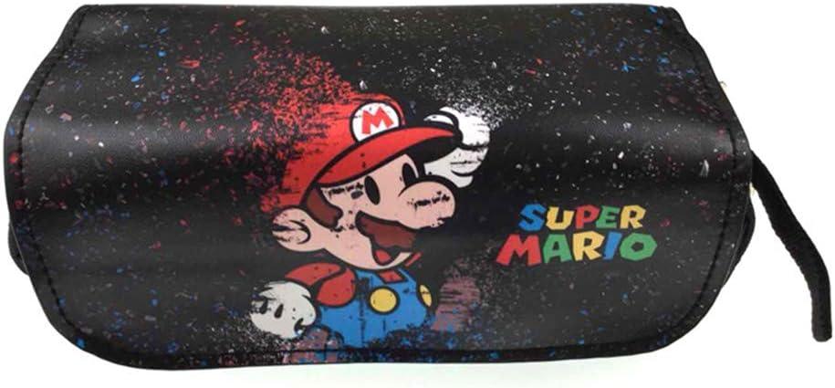 Bonamana - Estuche para lápices con impresión de Super Mario, estuche con dos compartimentos, anime, cosplay, para estudiantes, adolescentes, color Super Mario-A: Amazon.es: Oficina y papelería