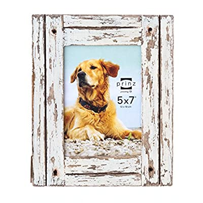 PRINZ 3710-0157 Picture Frame, 5 x 7, Distressed White - Wood picture frame with hand distressed white finish Wood plank look Two-way easel for vertical or horizontal display - picture-frames, bedroom-decor, bedroom - 51uiu8nsx1L. SS400  -