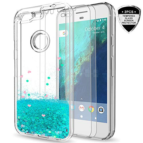 Google Pixel XL Case with Tempered Glass Screen Protector [2 Pack] for Girls Women,LeYi Sparkle Shiny Bling Liquid Clear TPU Bumper Protective Phone Case for Google Pixel XL 2016 ZX Turquoise