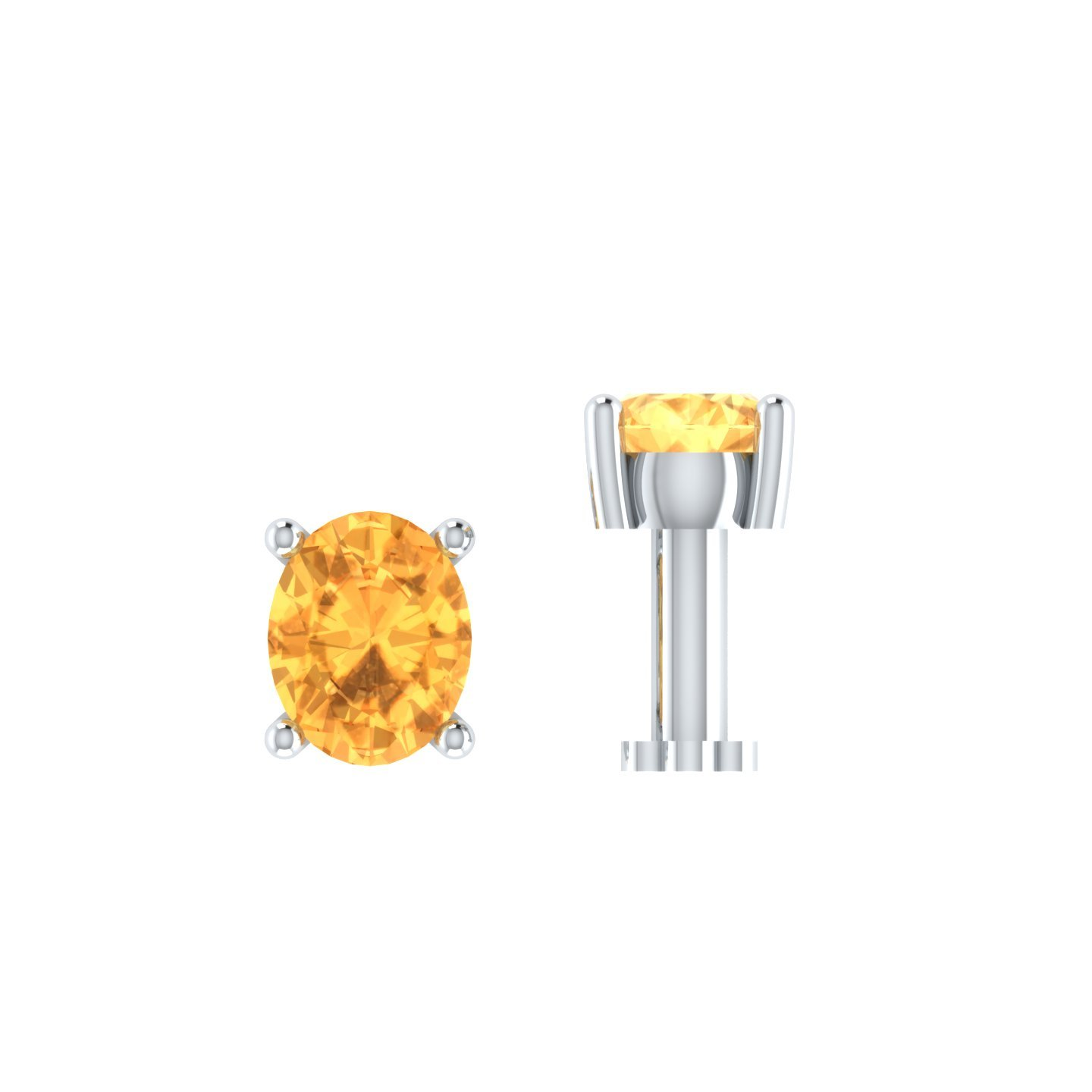 Smjewels 0.15 Ct Citrine Solitaire Nose Bone 925 Sterling Silver Screw Stud Piercing Ring Pin