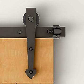 6FT/183CM Herraje para Puerta Corredera Kit de Accesorios para Puertas Correderas Juego de Piezas,Forma corazón,negro: Amazon.es: Bricolaje y herramientas