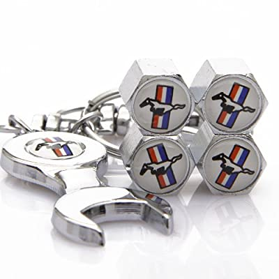 D&R Wrench Keychain Chrome Tire Valve Stem Caps For Ford Mustang: Automotive