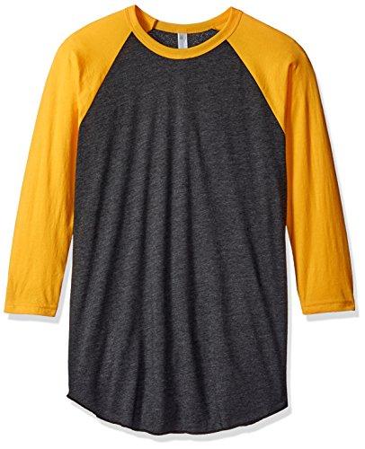 american-apparel-mens-poly-cotton-3-4-sleeve-raglan-shirt-heather-black-gold-x-small