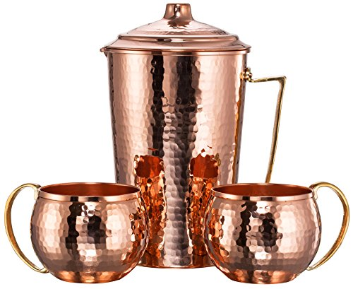 *NEW* CopperBull Heavy Gauge 100% Pure Solid Hammered Copper Moscow Mule Water Pitcher,70 fl. Oz. - Lidded with 2 Mugs by CopperBull (Image #1)