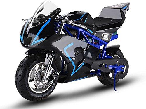 MotoTec 36v 500w Electric Pocket Bike GP Version, THREE large 12v batteries, Blue