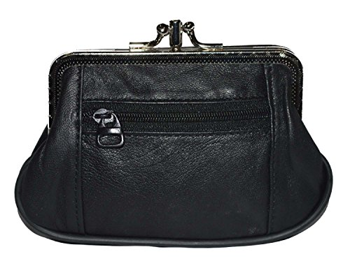 Women's Leather Metal Frame Double Clasp Zipper Coin Purse 5 1/4