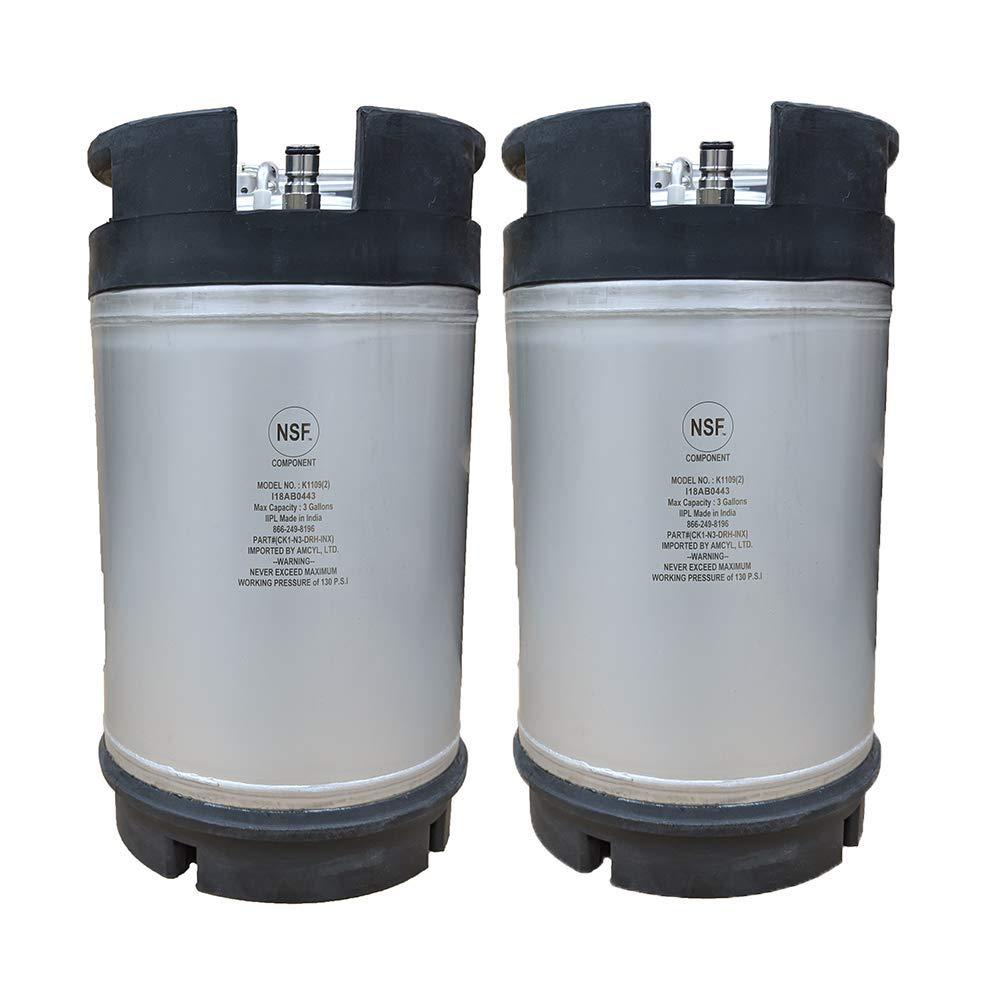 New 3 Gallon Ball Lock Keg - Dual Handle - Two Pack