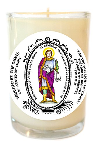 St Genesius Patron of Acting, Comedy, Drama 8 Oz Scented Soy Prayer Candle by Touched By The Saints