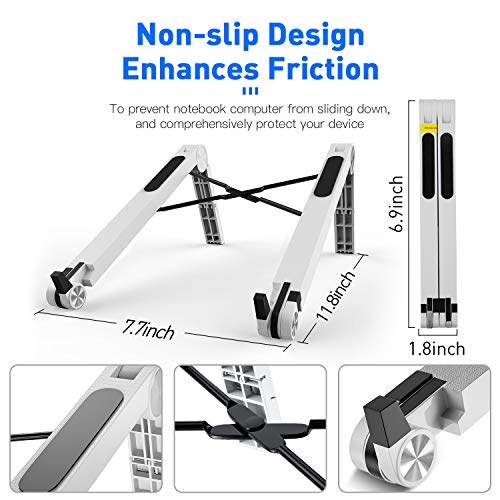 Portable Laptop Desk Stand Foldable Adjustable Height Portable Laptop Stands for MacBook and Notebook White
