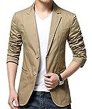 OUYE Men's 2 Button Cotton Casual Blazer Large Khaki