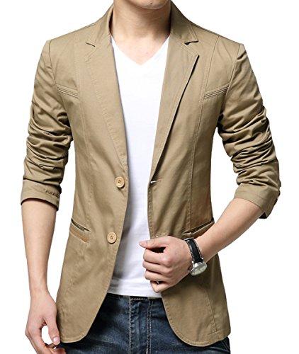 (OUYE Men's 2 Button Cotton Casual Blazer XX-Large Khaki)