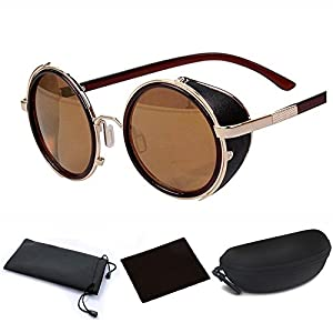 Classic Design Retro Vintage Round Circle Mirror Lens Sunglasses Steampunk Cyber Goggles Binders with Black Case (Golden Metal Frame & Brown Reflection Lens, One Size fit most)