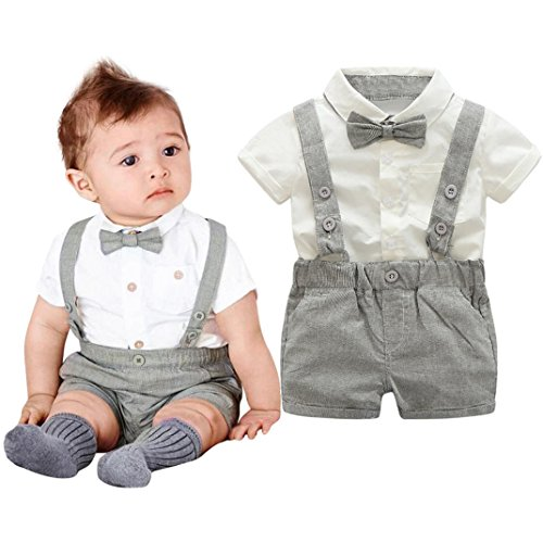 Baby Boys Gentleman Outfits Suits, Infant Short Sleeve T-Shirt Tops+Bib Pants+Bow Tie Clothing 3Pcs/Set (Gray, 12 ()