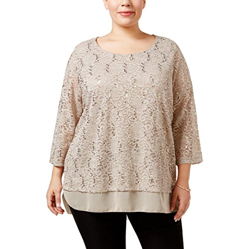 JM Collection Womens Plus Embellished Long Sleeves Tunic Top Tan 1X from JM Collection