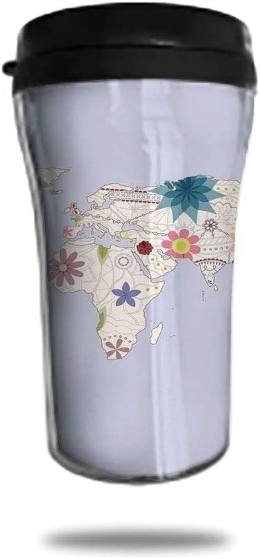 8.8oz Tumbler with Lid, Stainless Steel Vacuum Insulated Double Wall Travel Tumbler Retro Style Map with Pastel Toned Blossoms Kids Girls Atlas Illustration Durable Insulated Coffee Mug Cream Lilac