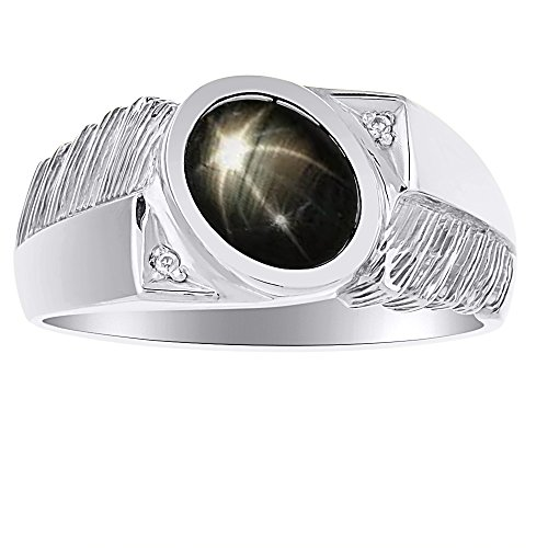 Mens Classic Oval Black Star Sapphire & Diamond Ring Set in Sterling Silver .925