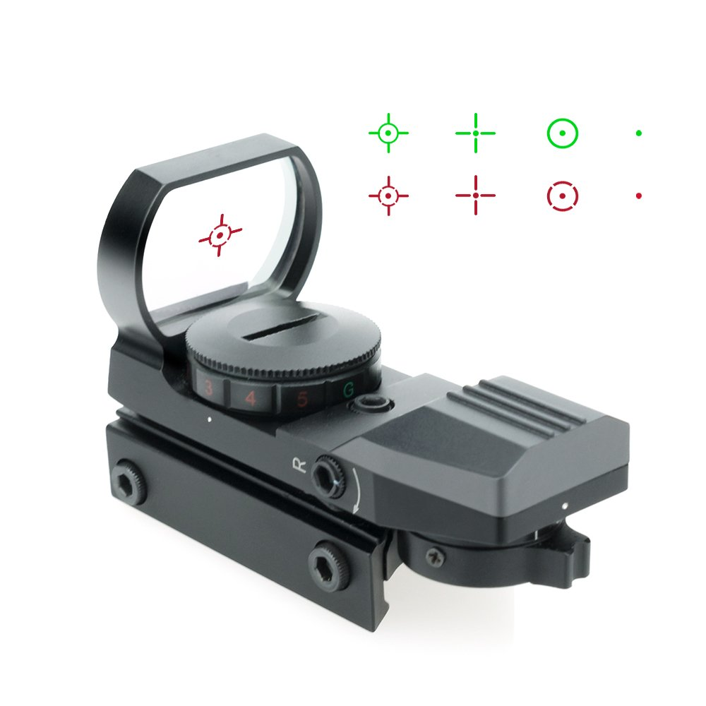 Lirisy Red Dot Sight, Tactical Holographic Red and Green Reflex Sight with 4 Reticles