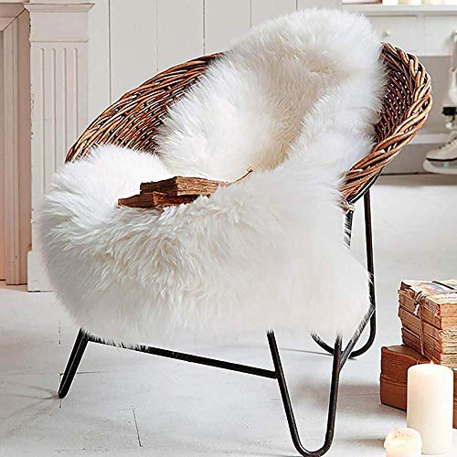 Deluxe Super Soft Fluffy Shaggy Home Decor Faux Sheepskin Silky Rug for Bedroom Floor Sofa Chair, Chair Cover Seat Pad Couch Pad Area Carpet, 2ft x 3ft, Ivory White