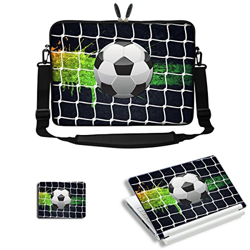 Meffort Inc 17 17.3 inch Neoprene Laptop Sleeve Bag Carrying Case with Adjustable Shoulder Strap & Matching Skin Sticker, Mouse Pad Combo - Soccer Laptop Sleeve Football