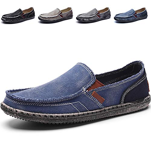 CASMAG Men's Casual Cloth Shoes Canvas Slip-on Loafers Outdoor Leisure Walking Blue 9.5 M US ()