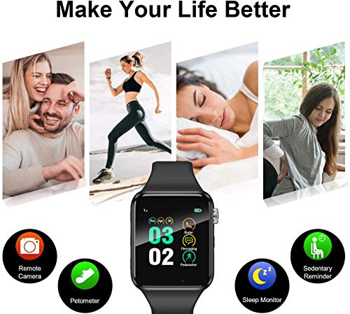 Smart Watch for Android Phones iPhone Compatible for Kids Men Women - Aeifond Bluetooth Touch Screen Smartwatch Fitness Tracker with Camera Step Calorie Counter Sleep Monitor SIM SD Card Slot (Grey)